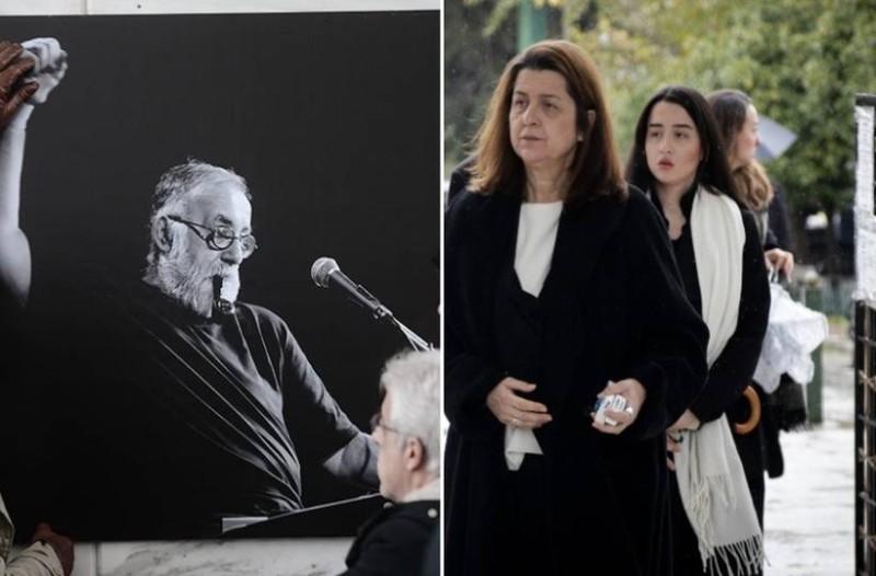 Κηδεία Θάνου Μικρούτσικου: Τραγικές φιγούρες η σύζυγός και η κόρη του! Οι πρώτες εικόνες!