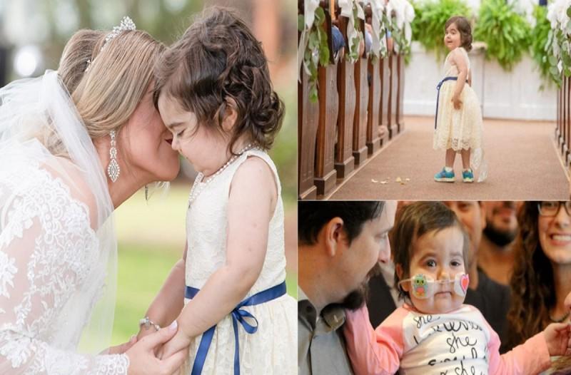 3χρονο που έπασχε από καρκίνο και θα πέθαινε...Έγινε όμως παρανυφάκι στον γάμο της δότριας μυελού των οστών της!