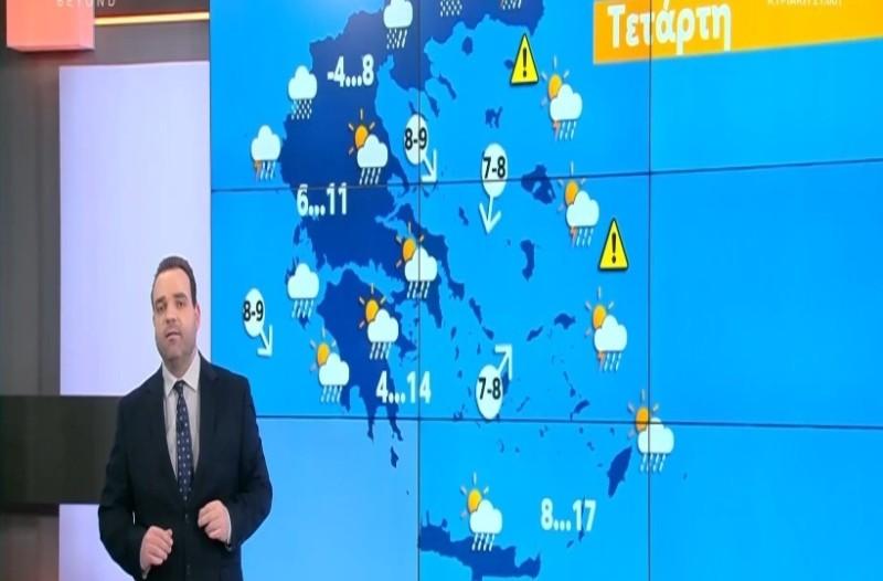 Κλέαρχος Μαρουσάκης: Από την άνοιξη στο βαρύ χειμώνα! Τσουχτερό κρύο, χιόνια και πολλά μποφόρ! (Video)
