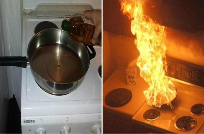 Προσοχή! Μην σβήνετε την φωτιά σε τηγάνι με καυτό λάδι πετώντας νερό! Μπορεί να συμβεί...