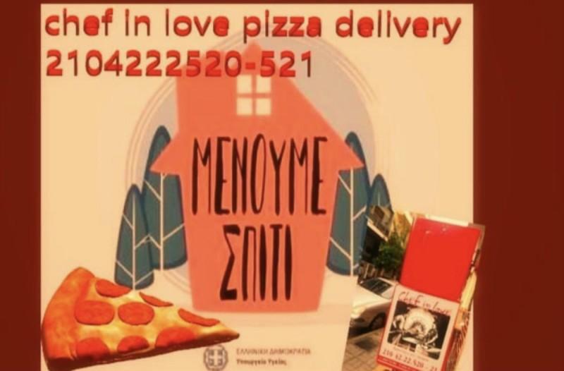 Chef in love pizza delivery