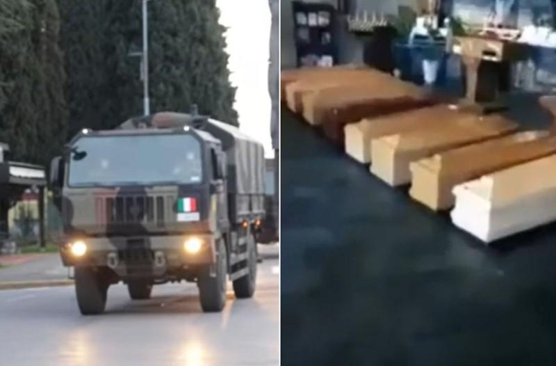 Βίντεο σοκ στην Ιταλία: Κομβόι του στρατού μεταφέρουν πτώματα - Φέρετρα παντού