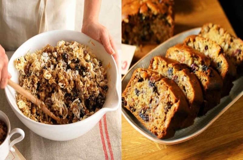 Υγιεινό κέικ βρώμης με αποξηραμένα φρούτα χωρίς βούτυρο και αλεύρι που μπορείτε να φάτε όσο θέλετε