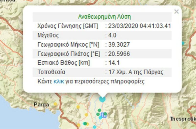 Σεισμική δόνηση 4 Ρίχτερ στην Πάργα