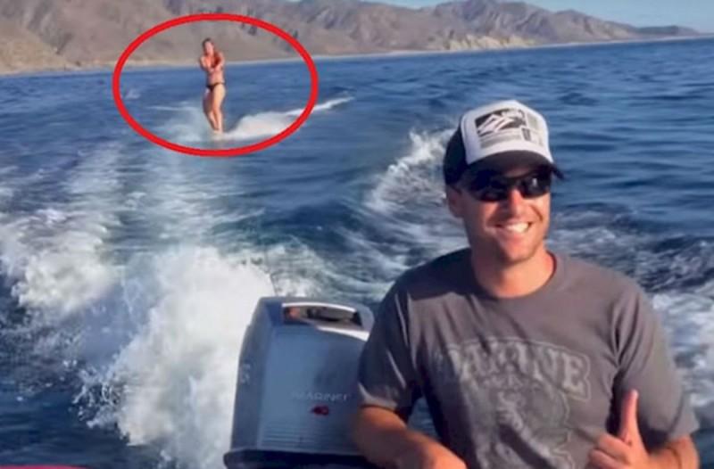 Γυναίκα κάνει wakeboard όταν νιώθει κάτι περίεργο να την πλησιάζει από πίσω - Μόλις δείτε τι είναι θα μείνετε άφωνοι (Video)