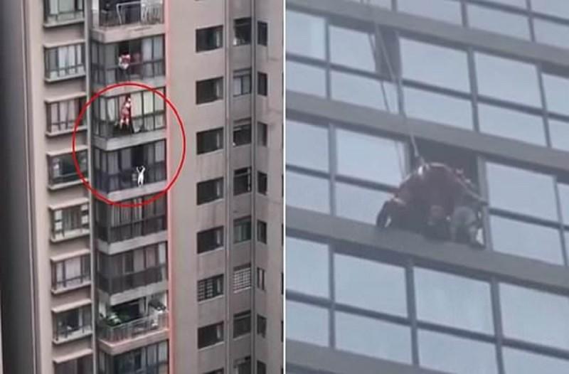Βίντεο που κόβει την ανάσα: Πυροσβέστης κρεμάστηκε στα 50 μέτρα για να σώσει κοριτσάκι που κινδύνευε (Video)