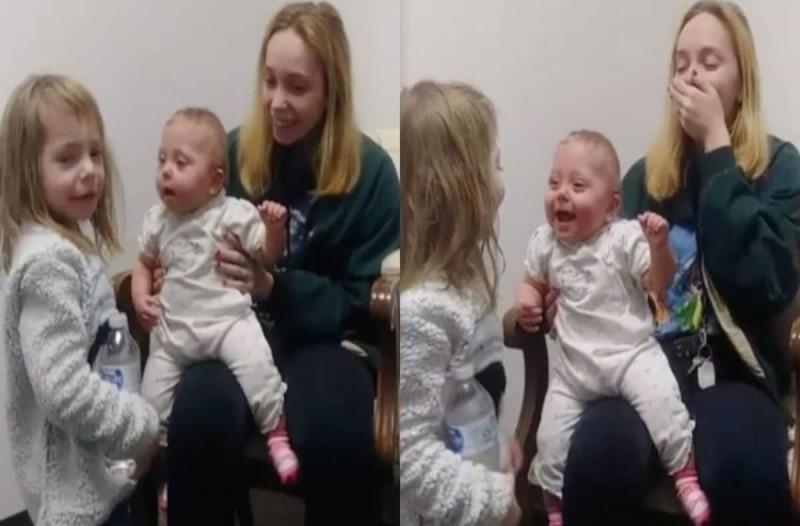 Κωφό μωράκι ακούει για πρώτη φορά τη φωνή της αδερφής του - Η αντίδραση του θα σας κάνει να δακρύσετε