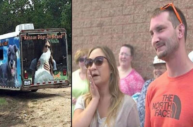 Ζευγάρι υιοθετεί σκύλο χωρίς να τον έχει δει από κοντά - Μόλις ανοίγει η πόρτα του φορτηγού και τον βλέπουν... (Video)