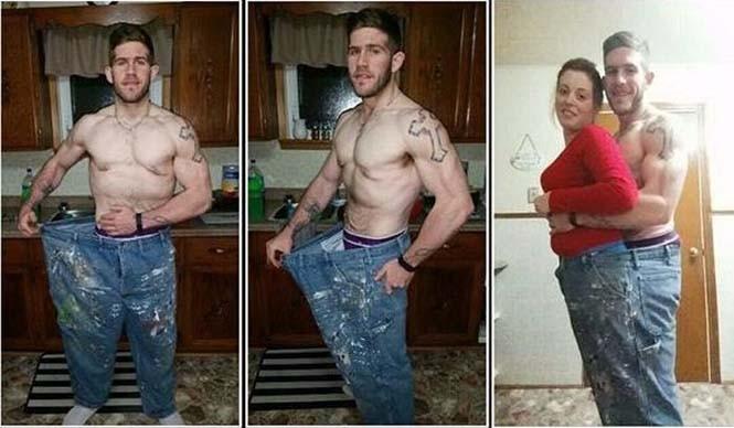 Άνδρας που έχασε κιλά μπαίνει στο ίδιο παντελόνι με την κοπέλα του