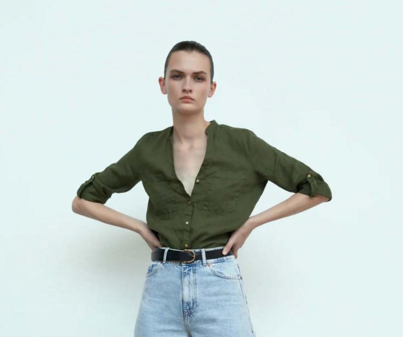 Zara λινά μπλουζάκια