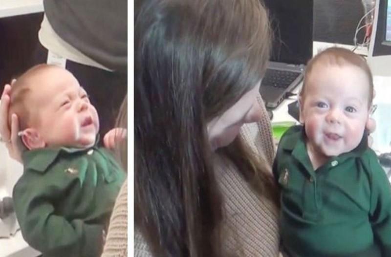 Μωρό 3 εβδομάδων κλαίει μόλις ακούει ήχο για πρώτη φορά - Όμως «παγώνει» όταν η μητέρα του... (Video)