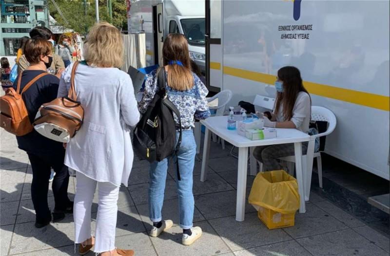 Συνεχίζονται τα τεστ για τον κορωνοϊό από τον ΕΟΔΥ στην πλατεία Βικτωρίας