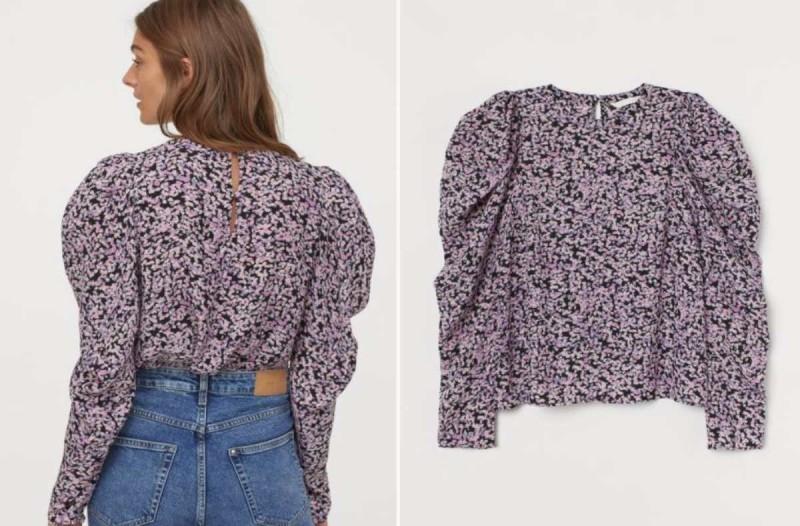 Μπλούζα H&M μαύρη με σχέδια μωβ