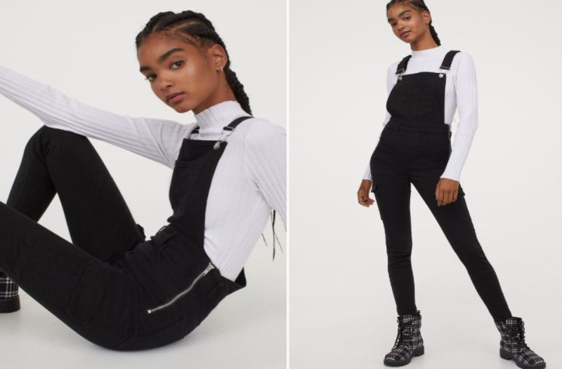 Σαλοπέτα τζιν μαύρη από H&M