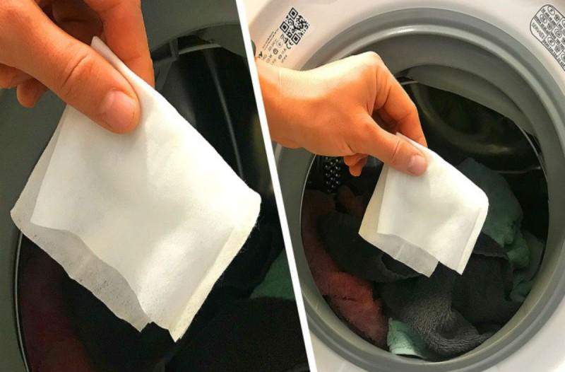 Έβαλε ένα μωρομάντηλο στο πλυντήριο και απαλλάχτηκε από το βάσανο κάθε νοικοκυράς