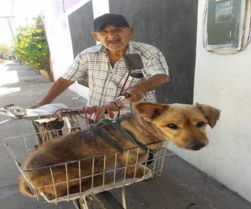 90χρονος πάει τον σκύλο του στον κτηνίατρο