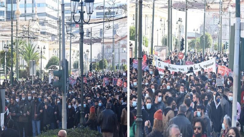 Χάος στο κέντρο της Αθήνας: Κορωνο-συνωστισμός στο συλλαλητήριο παρά την απαγόρευση συγκεντρώσεων άνω των 100 ατόμων!