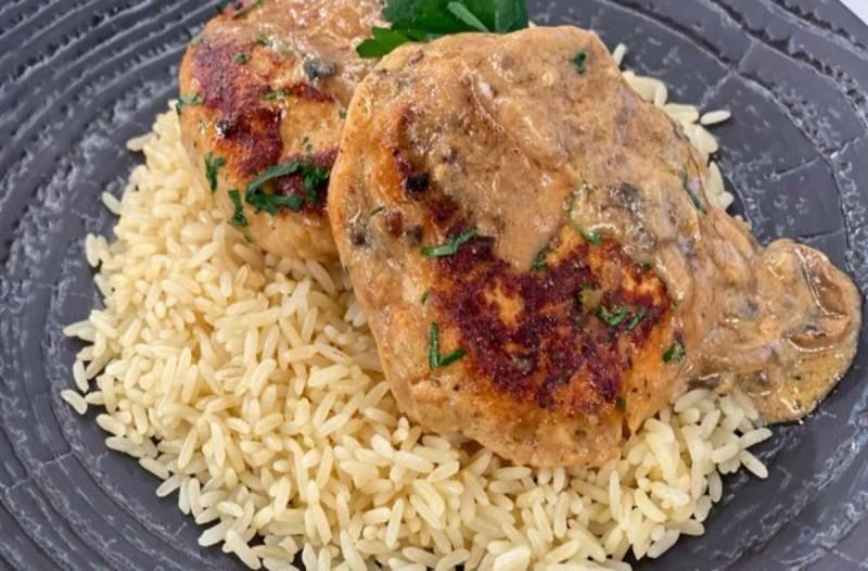 Μπιφτέκια κοτόπουλο με ρύζι και κάρυ