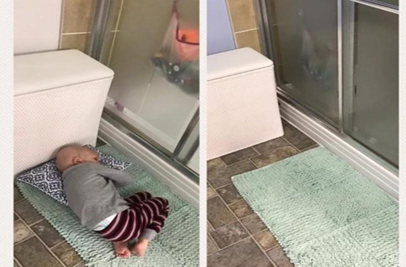 Παιδάκι με καρκίνο κοιμάται στο μπάνιο