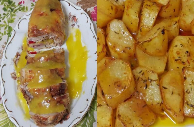 Ρολό κοτόπουλο με σάλτσα πορτοκάλι και μελωμένες πατάτες φούρνου