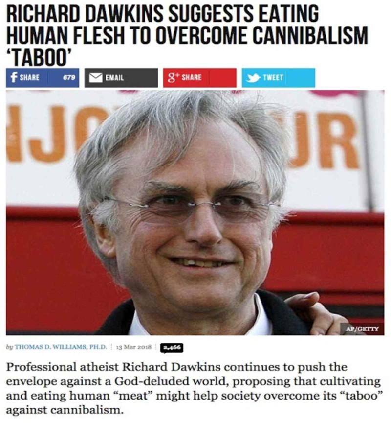 Βρετανός αθεϊστής λέει να πως πρέπει να τρώμε ανθρώπινο κρέας για να ξεπεράσουμε το ταμπού του κανιβαλισμού