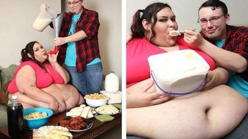 28χρονη γυναίκα που ζυγίζει 300 κιλά και ο άντρας της την ταΐζει με χωνί έμεινε έγκυος (Video)