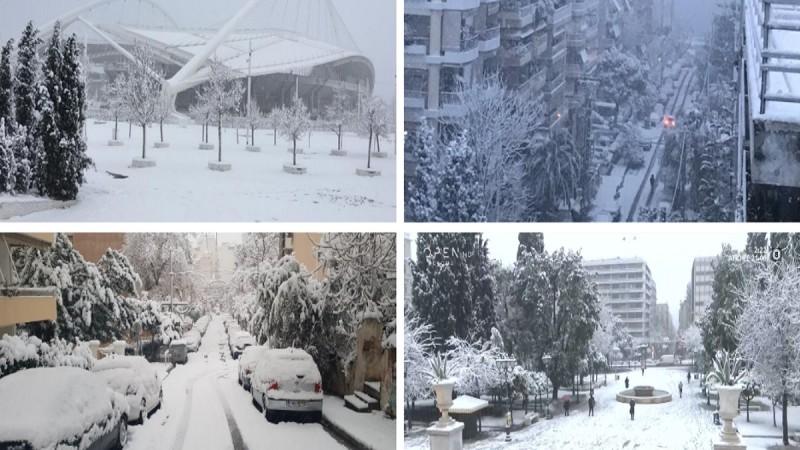 Κακοκαιρία «Μήδεια»: Μαγευτικές εικόνες σε πολλές περιοχές της Αττικής - Στα... λευκά οι γειτονιές της Αθήνας (photo-video)