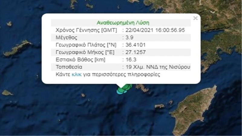 Διπλός σεισμός στη Νίσυρο