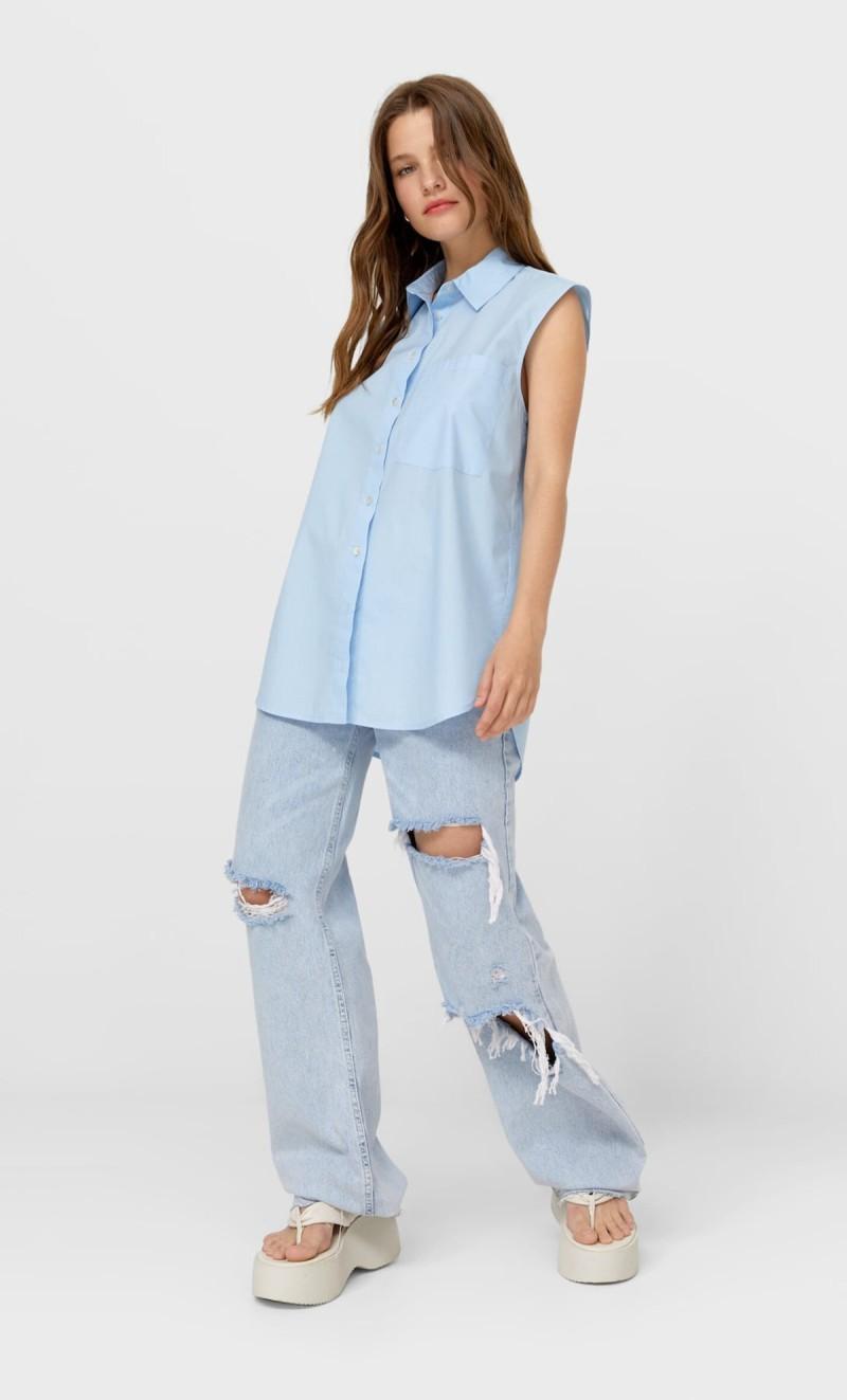 Σιέλ αμάνικο πουκάμισο