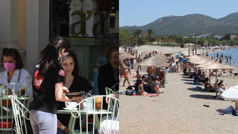 «Ξεχύθηκαν» ξανά: Ο καύσωνας έφερε «λαοθάλασσα» σε καφετέριες και παραλίες