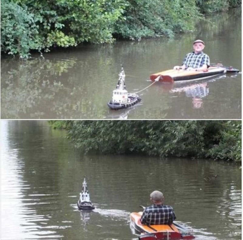 Είδε έναν παππούλη μέσα σε μια βάρκα και παραξενεύτηκε!