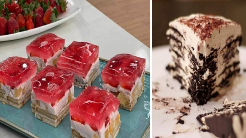 Γλυκό ψυγείου με γιαούρτι και ζελέ φράουλα χωρίς ζάχαρη και ένα γλυκάκι που λιώνει στο στόμα με ζαχαρούχο γάλα και μπισκότα