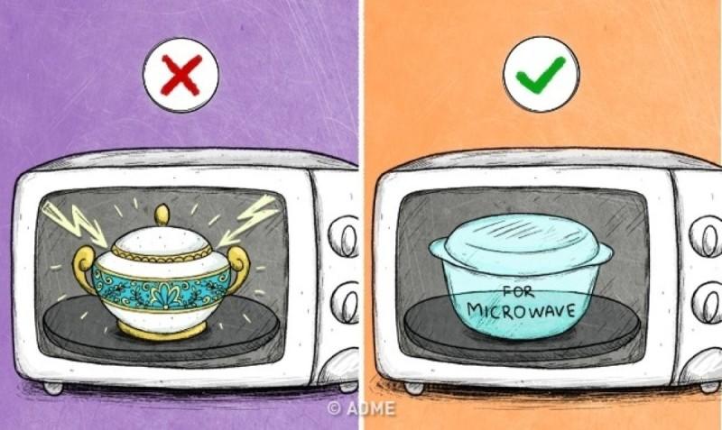 Μη χρησιμοποιείτε σκεύη που δεν είναι κατάλληλα για φούρνο μικροκυμάτων, καθώς μπορεί να προκληθεί πυρκαγιά