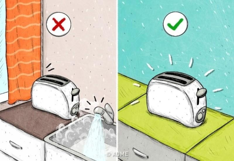 Μην επιτρέπετε να εισχωρήσει νερό ή υγρασία στο εσωτερικό της τοστιέρας, ή μη τη χρησιμοποιείτε με υγρά χέρια