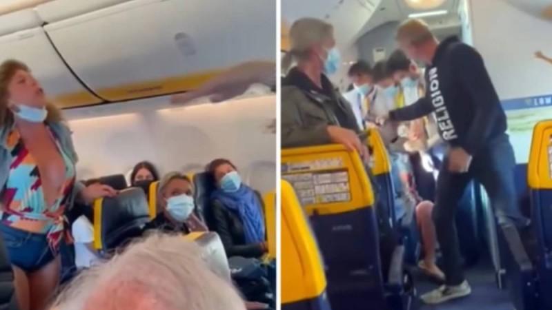 Μπουνιές και κλωτσιές σε πτήση της Ryanair! Έσυραν από τα μαλλιά γυναίκα εκτός αεροπλάνου λόγω... μάσκας!