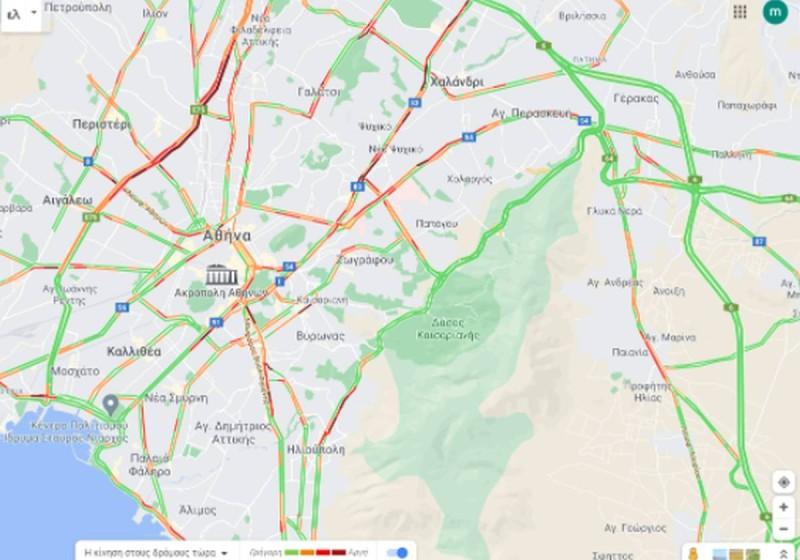 Τρομερό μποτιλιάρισμα στους δρόμους της Αθήνας