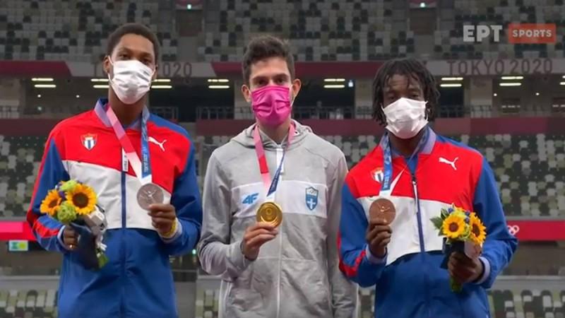 Μίλτος Τεντόγλου: Η απονομή στον Χρυσό Ολυμπιονίκη και η ανάκρουση του Ελληνικού Εθνικού Ύμνου!