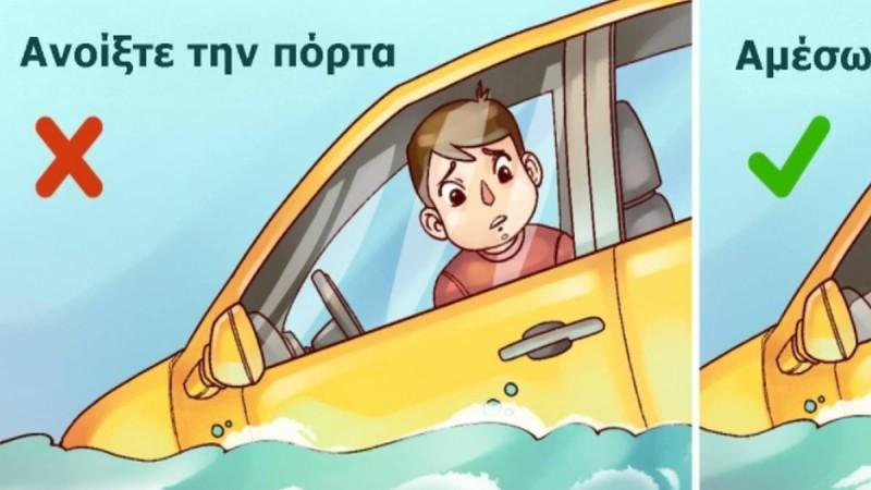 Δείτε τι πρέπει να κάνετε για να βγείτε ζωντανοί από ένα αυτοκίνητο που βυθίζεται!