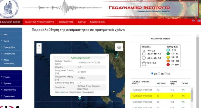 Σεισμός στη Ζακύνθου